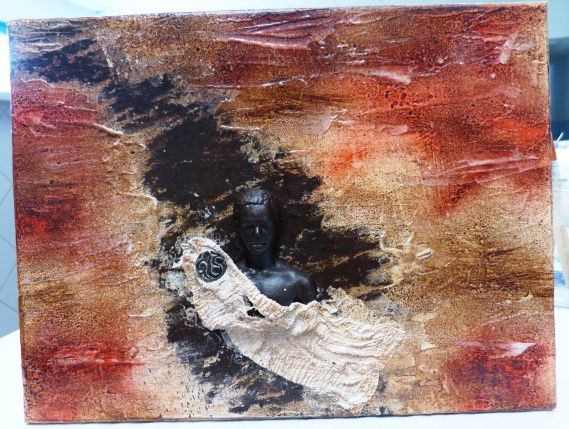 tableau de Marie Laure :Powertex ivoire , bronze et transparent , Easy3D flex, bister rouge et brou de noix .