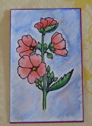 pour la 3e c'est un papier de fond ''Marianne design''fleurs détourées -(d'un tamponnage loupé)et coloriées