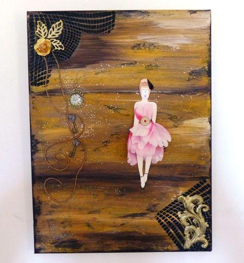 une toile : silhouette et pétales, peinture et un peu de Powertex ...