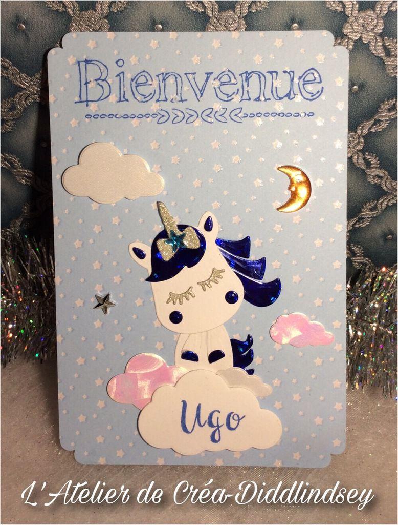 Carte de naissance « Bienvenue» thème licornes