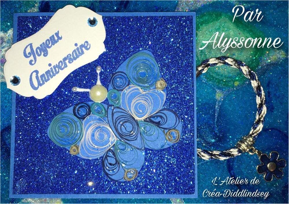 Une jolie carte d'anniversaire au quilling par Alyssonne