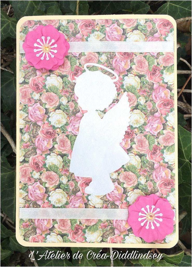 Carte simple pour un remerciement d'invitation au baptême d'une petite Rose