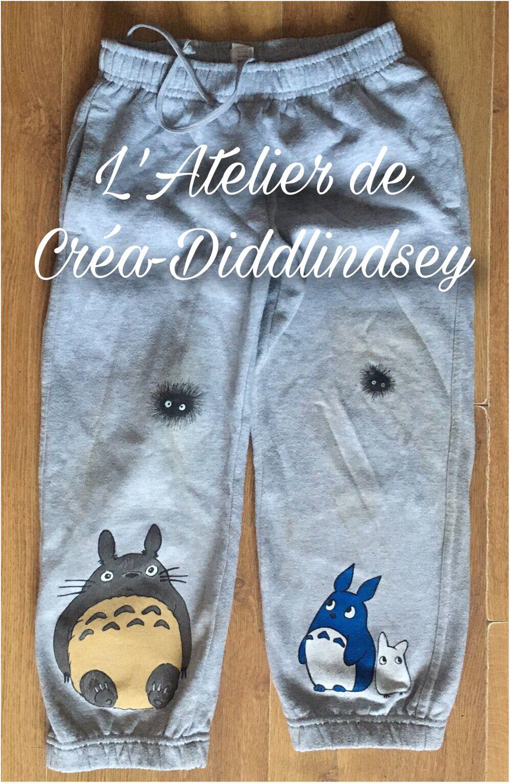 Peinture tissu:  pantalon de jogging Totoro