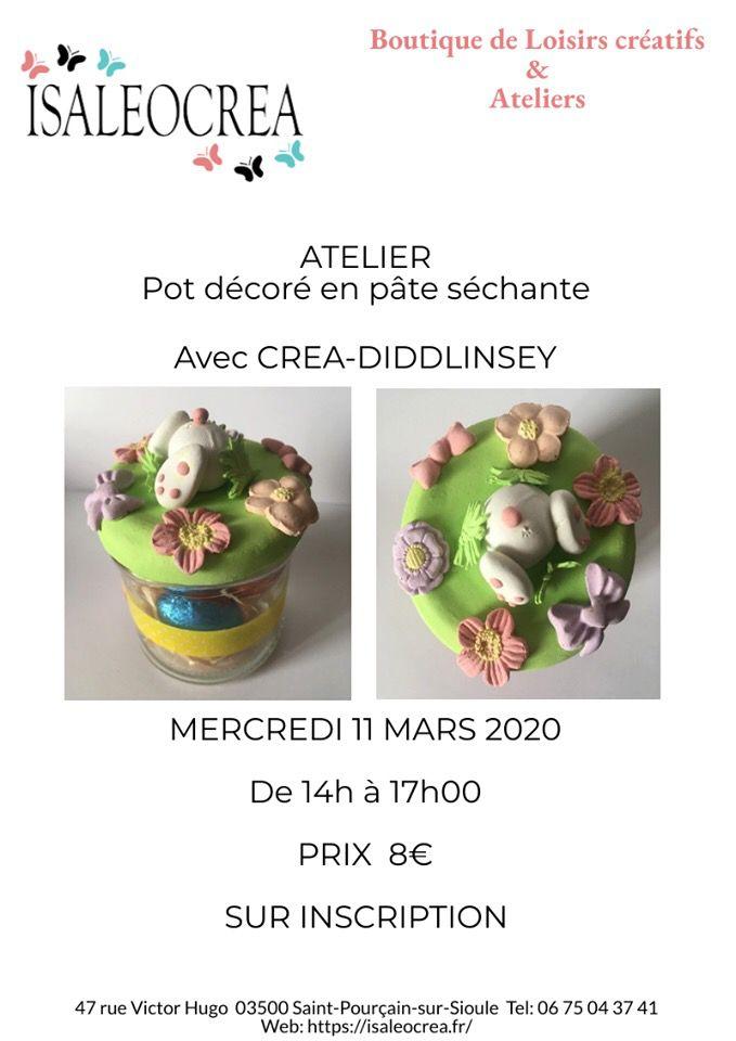 Ateliers enfants: un petit pot décoré derrière de lapin