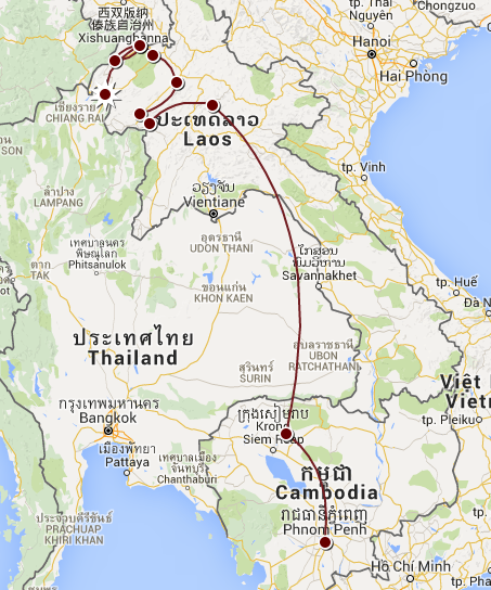 Notre parcours au Laos-Cambodge