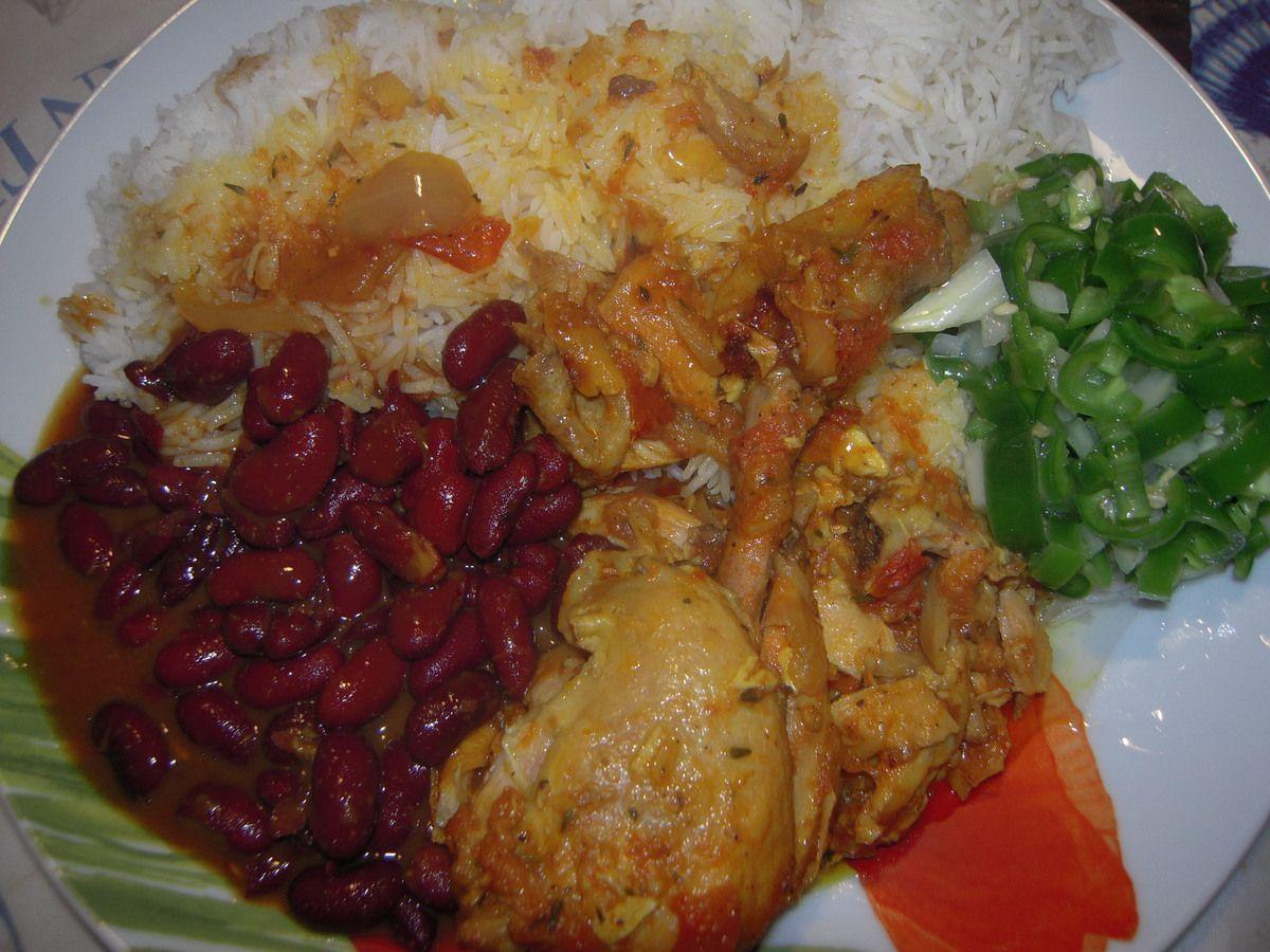 Cari poulet réunion ,riz ,grain à la créole