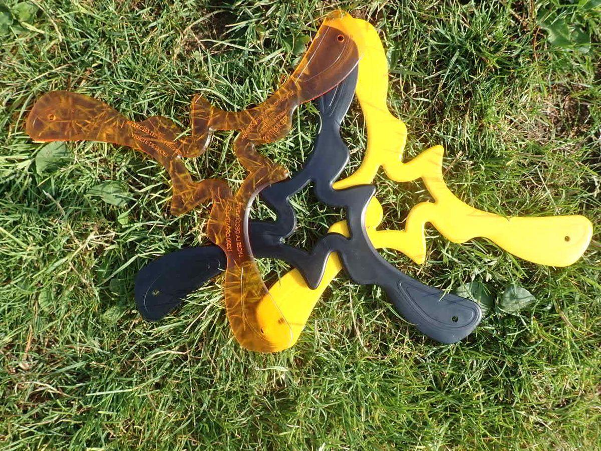 Les 3 modeles de boomerang Shuriken