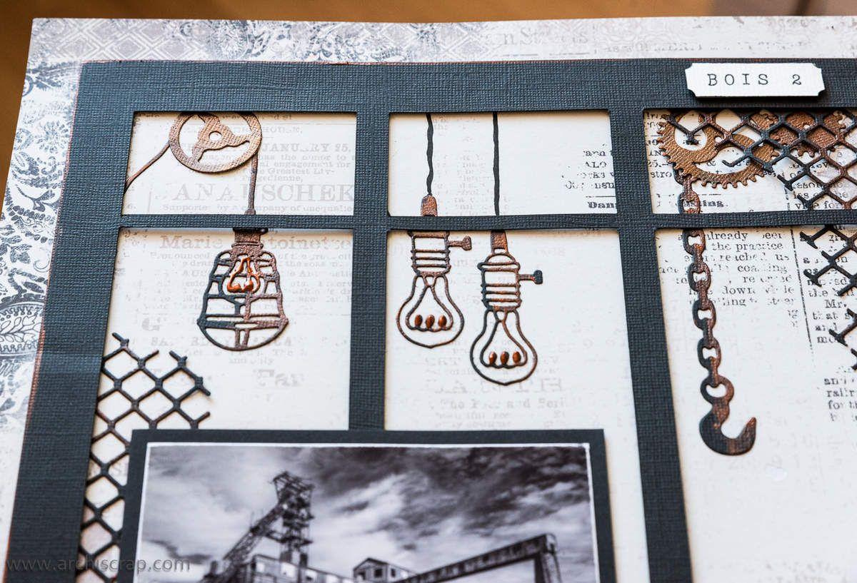 """Les ampoules et engrenages sont en Bazzill noir recouverts de peinture 3D """"Cuivre"""""""