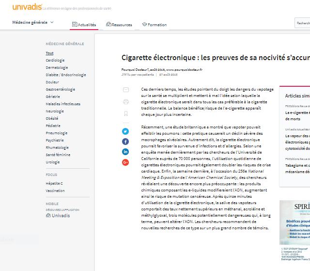 e-cigarette: attention dangers