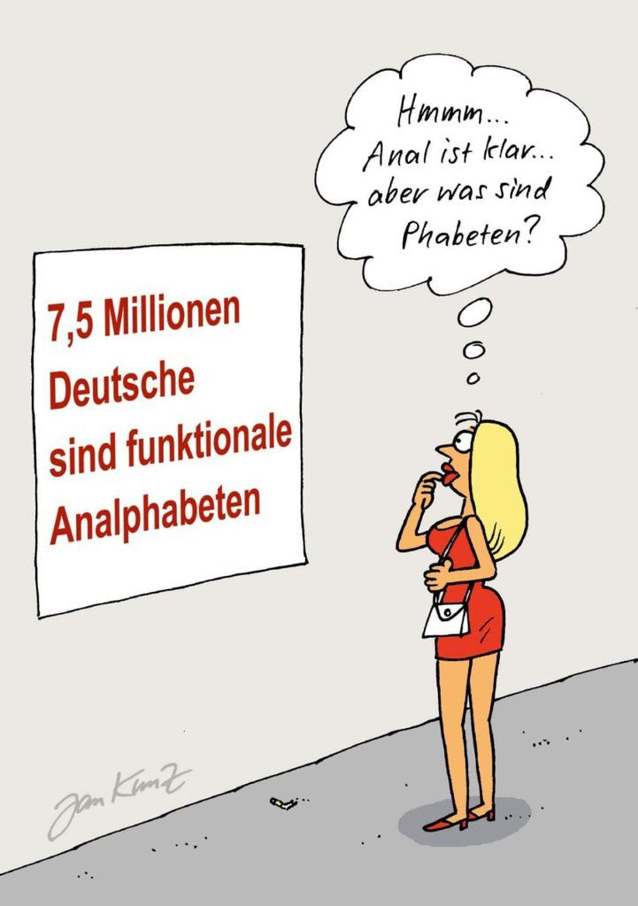 Humour blonde: Analphabete