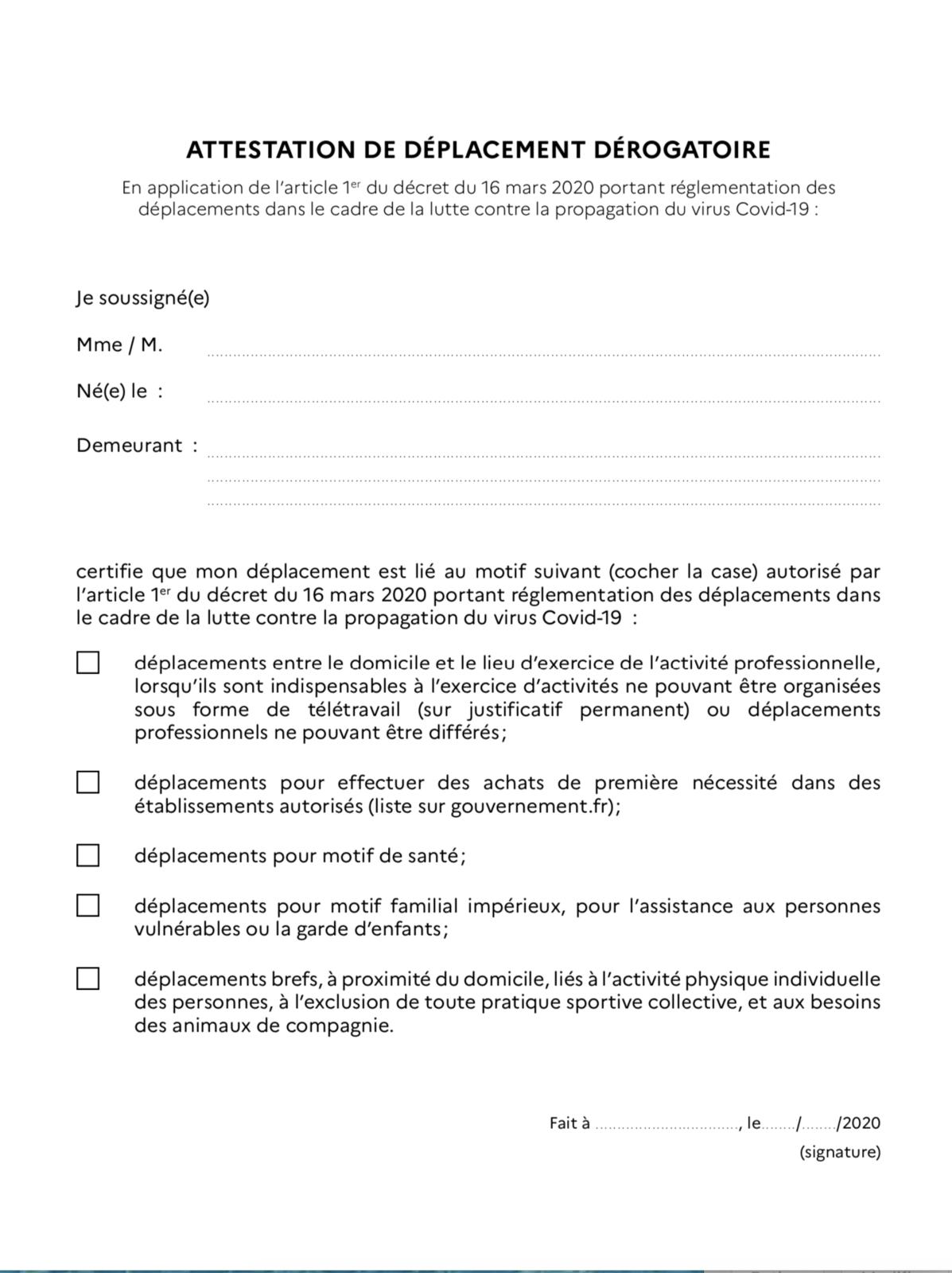 Attestation de déplacement dérogatoire : Covid-19