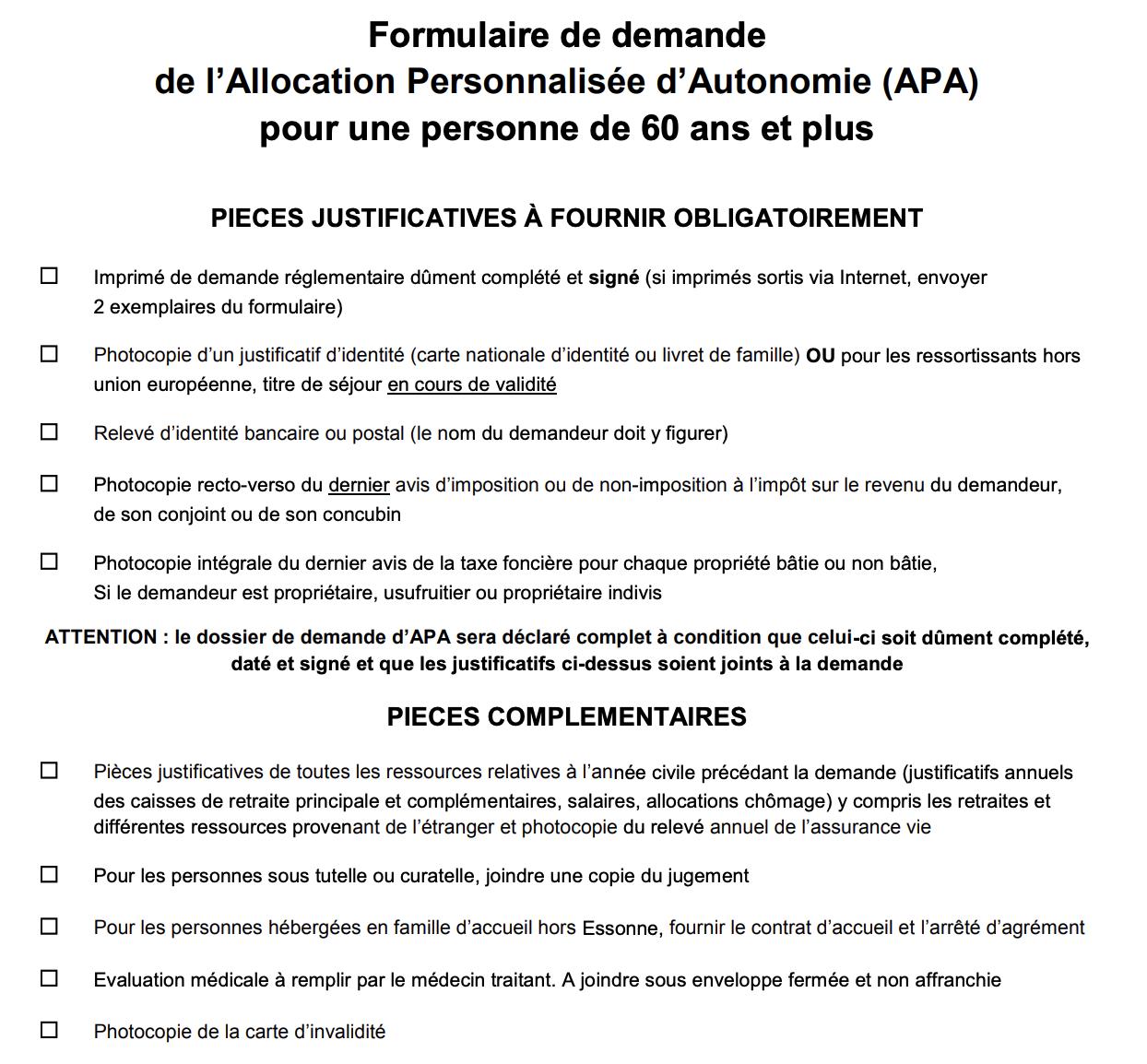 Lien du Formulaire APA à télécharger