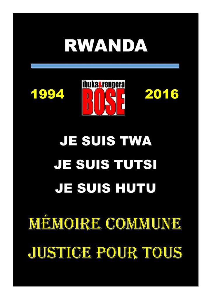 Rwanda : Mémoire commune et Justice pour tous. Non à l'apartheid mémoriel.