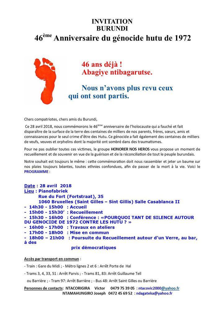 Commémoration du 46ème anniversaire du génocide hutu de 1972 au Burundi : Bruxelles 28/04/2018