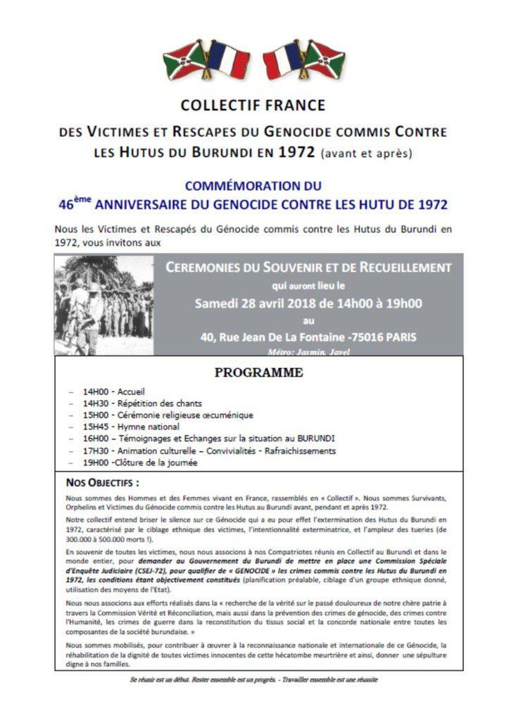 Paris 28 avril 2018 : COMMEMORATION DU 46EME ANNIVERSAIRE DU GENOCIDE HUTU DU BURUNDI
