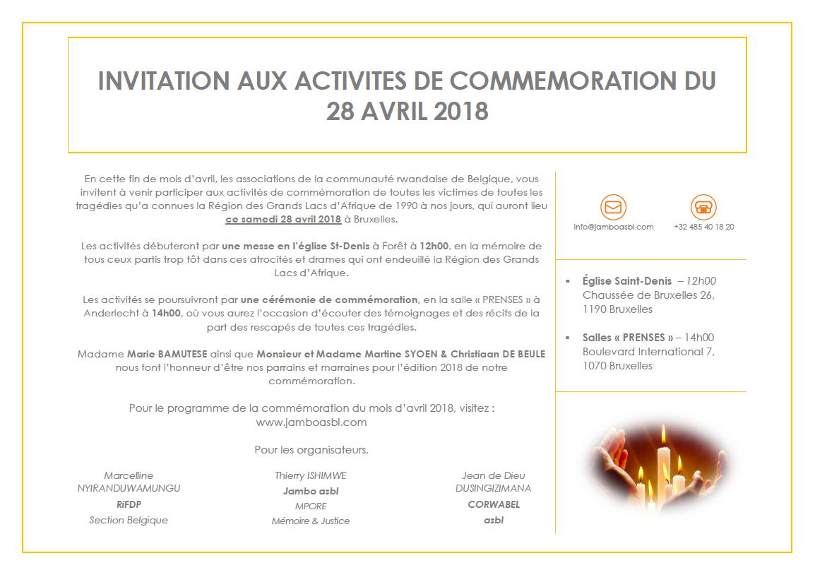 JAMBO ASBL : INVITATION A LA COMMEMORATION DU 28 AVRIL 2018 EN HOMMAGE A TOUTES LES VICTIMES DES CRIMES COMMIS AU RWANDA ET DANS LES GRANDS LACS