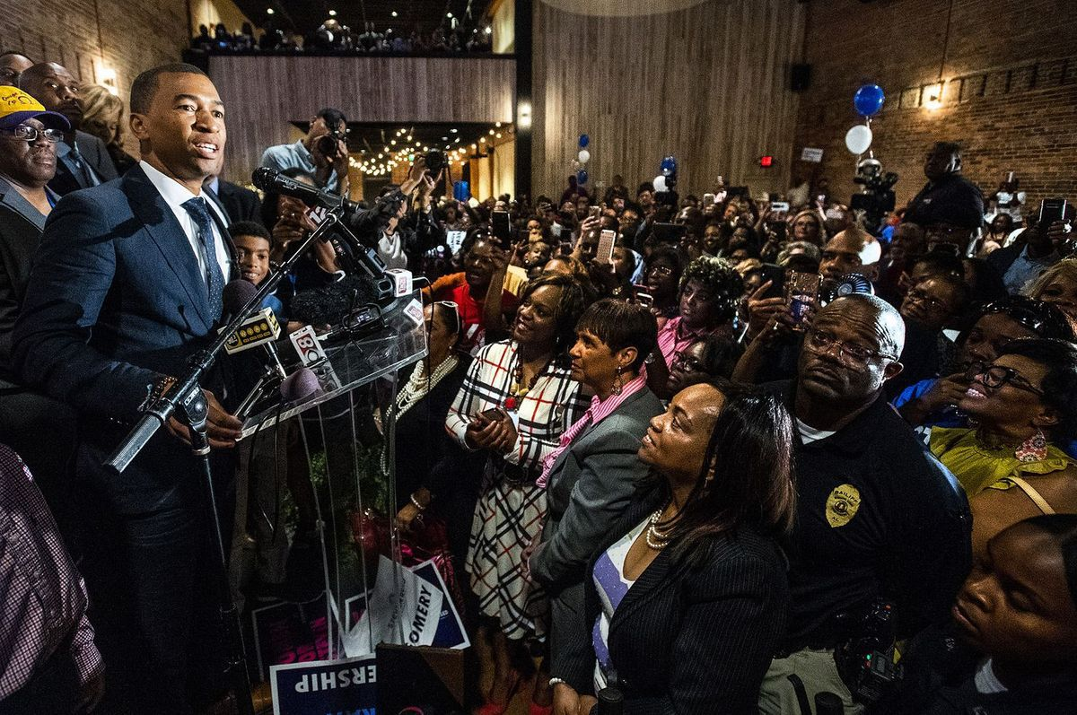 Steven L. Reed speaks at his victory party on Tuesday night in Montgomery, Ala., after he defeated David Woods in the race for mayor. (Mickey Welsh/Montgomery Advertiser/AP)