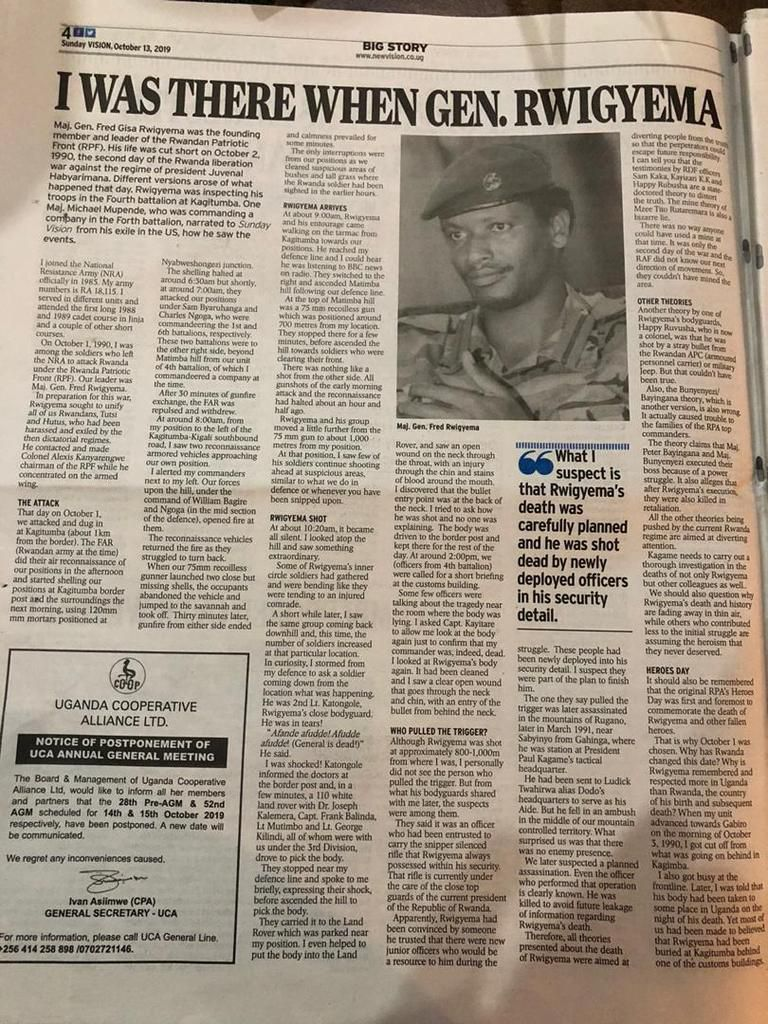 WHO KILLED GEN FRED GISA RWIGEMA ?