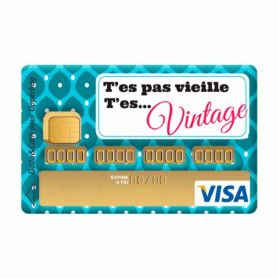 sticker de carte bleue pas vieille vintage