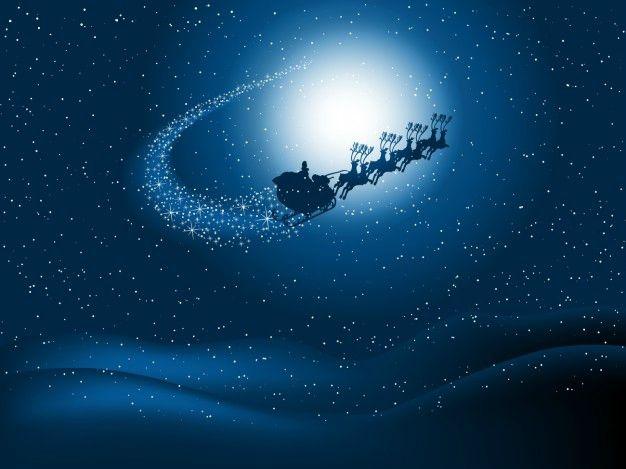 Le Père Noël et son traîneau au milieu des étoiles...