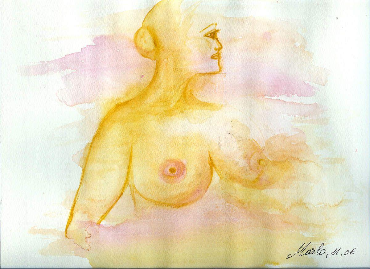 et une dernière image pour cette Journée internationale de la femme: une de mes aquarelles de 2006 lorsque je me posais la question: Qu'est-ce être une femme? Excatement la même question que lorsque j'avais 13 ans, 16 ans, 24 ans.. Cela change avec les années mais la base reste au fond la même. L'amour, une présence masculine font que l'on est femme jusqu'au bout des ongles sinon quelque chose manque dans la gamme des sentiments et des sens