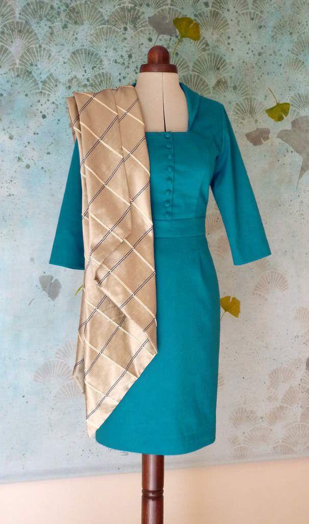Robe Angélique Satin de coton bleu canard