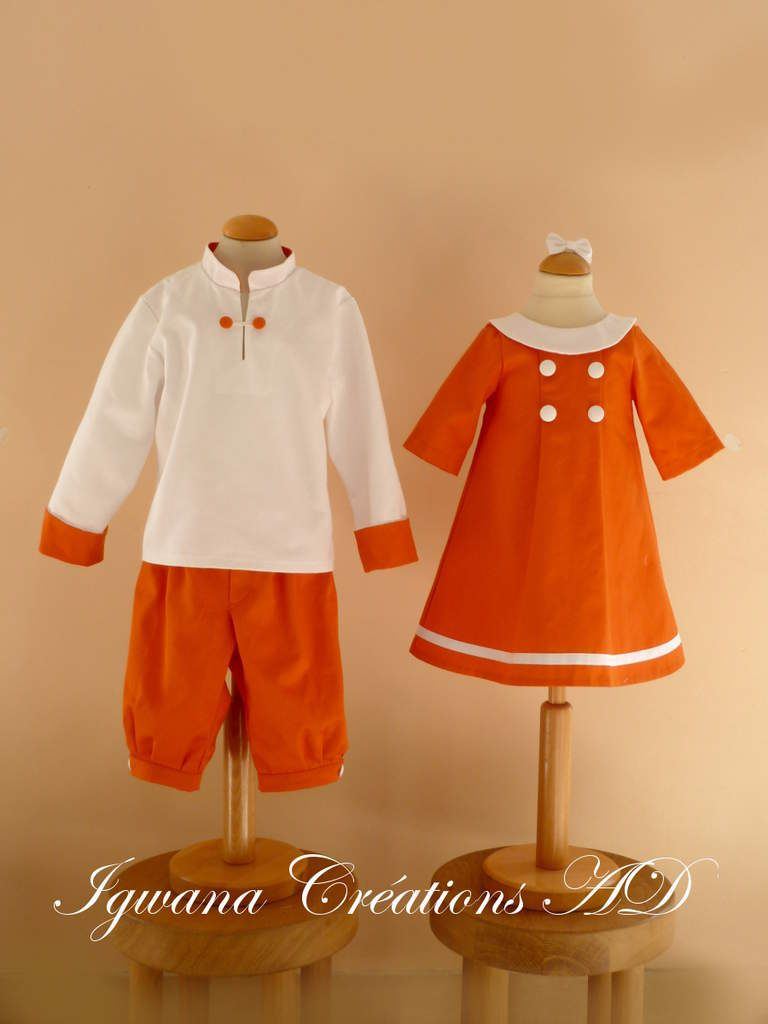 cortège marine orange et blanc