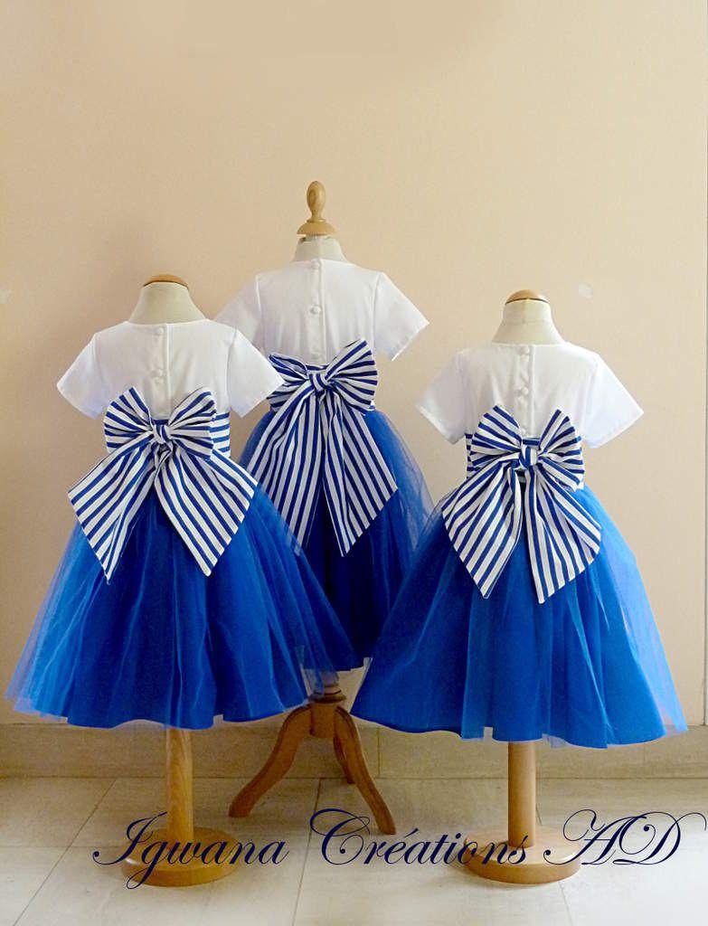 cortège Clémentine bleu blanc et rayé