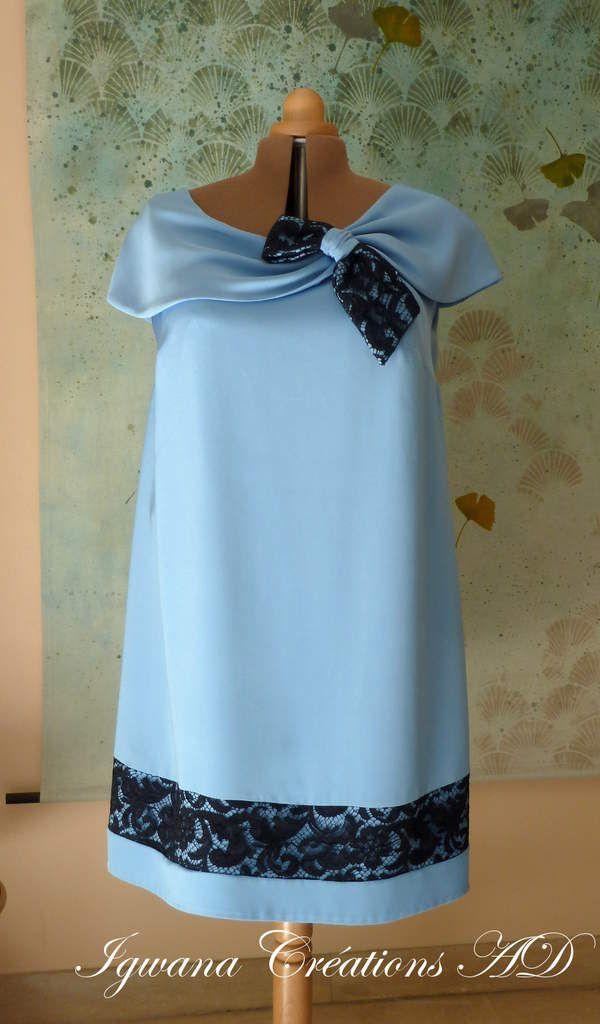 Robe de cocktail drap de soie bleu gris et dentelle