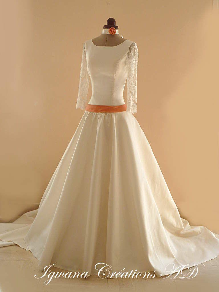 Robe de mariée Alicia: mikado ivoire satin duchesse corail et dentelle de Calais
