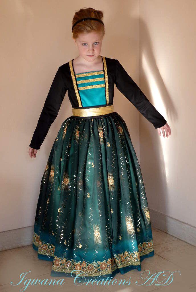 Déguisement princesse slave: robe noire vert et or