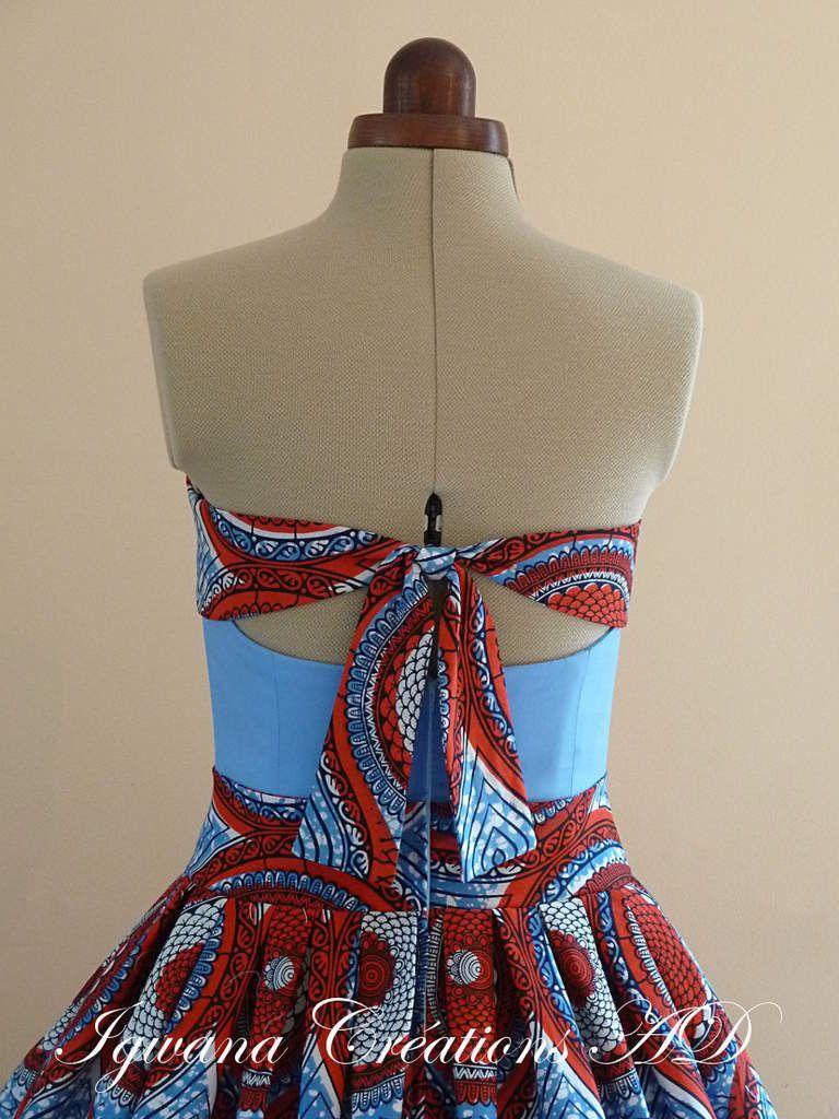 robe d'automne en wax rouge et bleu