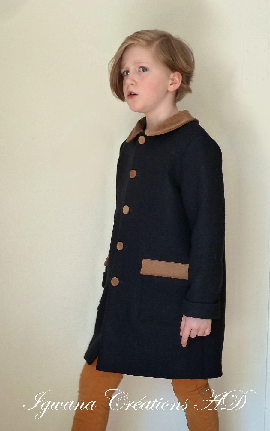 Manteau droit col claudine
