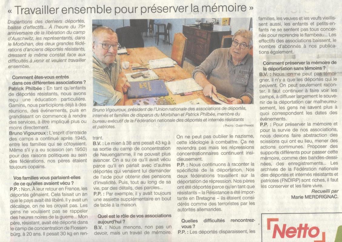 Article OUEST-FRANCE - Bretagne - Morbihan - Marie Merdrignac