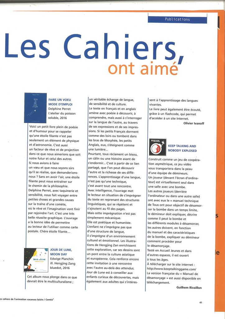 Les Cahiers de l'animation n°98 (avril 2017)