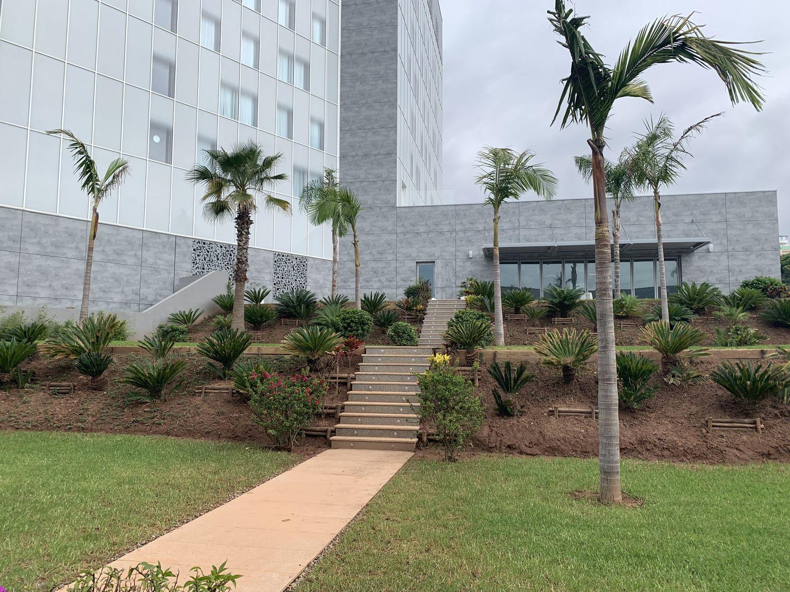 """espaces paysagers entre les restaurants et la salle de conférence , dallage granit, palmeraie, """"forêt de cycas"""" , jacaranda ...."""