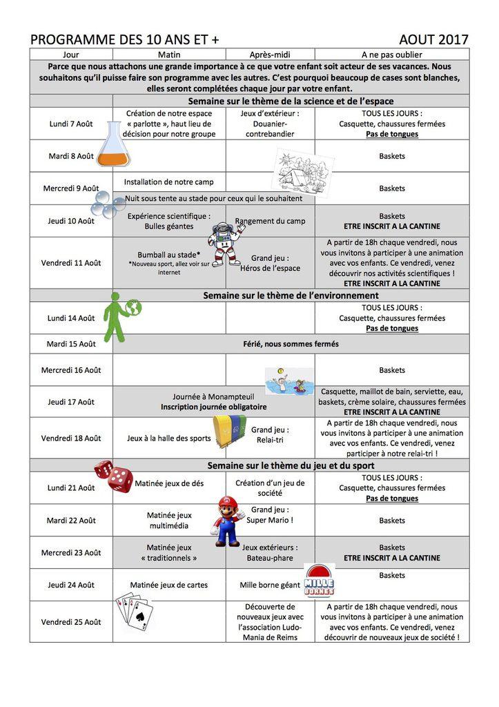PROGRAMME d'ACTIVITES De L'ACCUEIL  de LOISIRS  du 07 AOUT au 1er SEPTEMBRE 2017