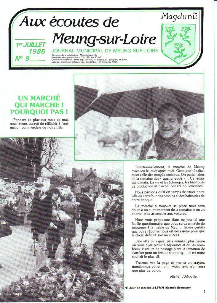 """Meung-sur-Loire-Le-Marché-du-dimanche-30-ans-déjà, retrouvé le questionnaire sur le marché publié dans"""" Aux écoutes de Meung-sur-Loire"""" publié le 1 er Juillet 1985"""