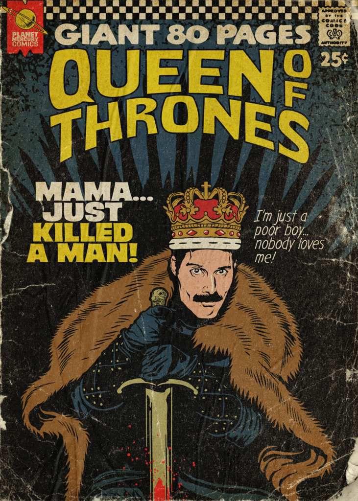 Les tubes de Freddie Mercury deviennent des Comics vintage