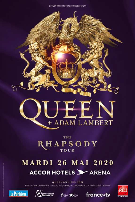 """The Rhapsody Tour"" : Queen et Adam Lambert en concert à Paris le 26 mai 2020"