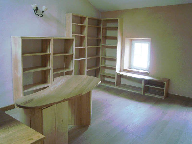 bureau et bibliothèque en frêne