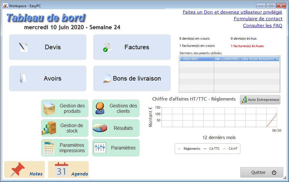 Free Devis Factures - Tableau de bord - Interface