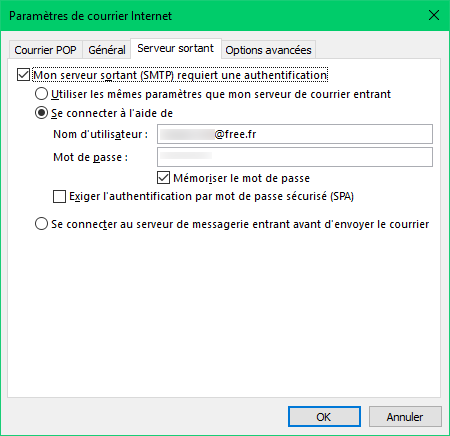 Outlook - identification serveur sortant