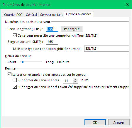 Outlook - Port serveur SMTP
