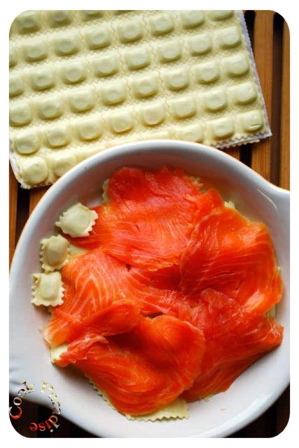 ravioles, saumon, gratin