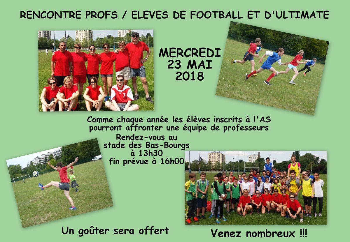 RENCONTRE PROFS / ELEVES MERCREDI 23 MAI