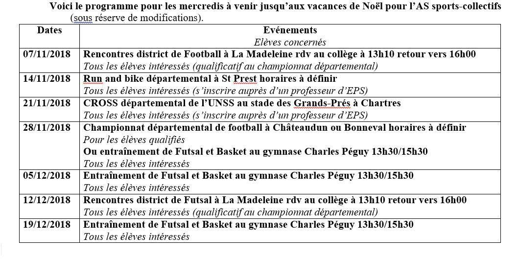 PROGRAMME SPORTS-COLLECTIFS JUSQU'AUX VACANCES DE NOEL
