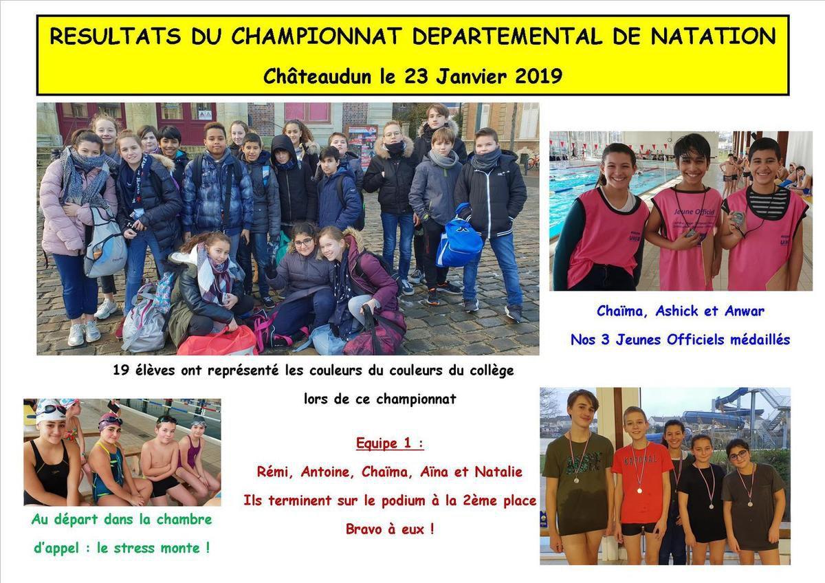 RESULTATS DU CHAMPIONNAT DEPARTEMENTAL DE NATATION 2019