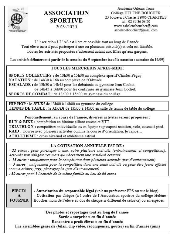 REPRISE DE L'AS LA SEMAINE DU 9 SEPTEMBRE + PAPIERS D'INSCRIPTION