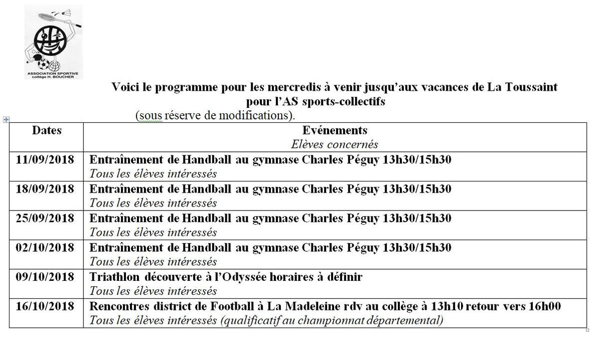AS SPORTS-COLLECTIFS PROGRAMME